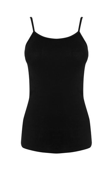 Cami - sleeve style: spaghetti straps; pattern: plain; length: below the bottom; style: camisole; predominant colour: black; occasions: casual, holiday; neckline: scoop; fibres: viscose/rayon - stretch; fit: body skimming; sleeve length: sleeveless; texture group: jersey - clingy; pattern type: fabric; season: s/s 2016; wardrobe: basic