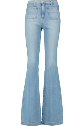 Demi High Rise Flared Jeans Light Denim - style: flares; length: standard; pattern: plain; waist: high rise; predominant colour: pale blue; occasions: casual; fibres: cotton - stretch; jeans detail: shading down centre of thigh; texture group: denim; pattern type: fabric; season: s/s 2016; wardrobe: basic