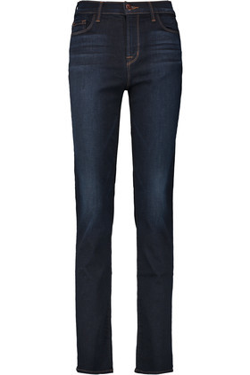 Maria High Rise Straight Leg Jeans Dark Denim - style: skinny leg; length: standard; pattern: plain; waist: high rise; pocket detail: traditional 5 pocket; predominant colour: navy; occasions: casual, evening, creative work; fibres: cotton - stretch; jeans detail: dark wash; texture group: denim; pattern type: fabric; season: s/s 2016; wardrobe: basic