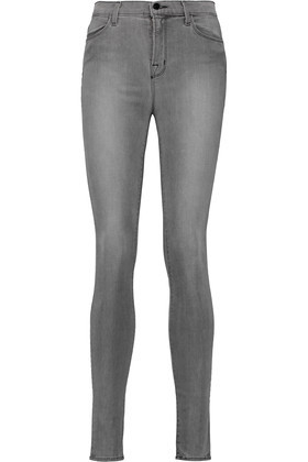 Maria High Rise Skinny Jeans Gray - style: skinny leg; length: standard; pattern: plain; waist: high rise; pocket detail: traditional 5 pocket; predominant colour: light grey; occasions: casual, creative work; fibres: cotton - stretch; jeans detail: shading down centre of thigh; texture group: denim; pattern type: fabric; season: s/s 2016; wardrobe: highlight