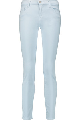 Mid Rise Skinny Jeans Sky Blue - style: skinny leg; length: standard; pattern: plain; pocket detail: traditional 5 pocket; waist: mid/regular rise; predominant colour: pale blue; occasions: casual; fibres: cotton - stretch; jeans detail: washed/faded; texture group: denim; pattern type: fabric; season: s/s 2016
