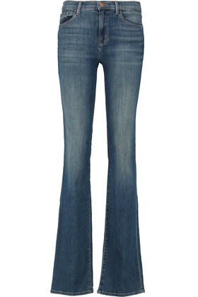 Brya Mid Rise Bootcut Jeans Mid Denim - style: bootcut; length: standard; pattern: plain; pocket detail: traditional 5 pocket; waist: mid/regular rise; predominant colour: denim; occasions: casual; fibres: cotton - stretch; jeans detail: whiskering, shading down centre of thigh; texture group: denim; pattern type: fabric; season: s/s 2016; wardrobe: basic