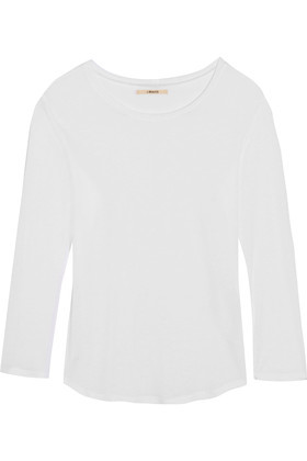 Eniko Slub Jersey Top White - neckline: round neck; pattern: plain; predominant colour: white; occasions: casual, work, creative work; length: standard; style: top; fibres: linen - mix; fit: straight cut; sleeve length: long sleeve; sleeve style: standard; pattern type: fabric; texture group: jersey - stretchy/drapey; season: s/s 2016; wardrobe: basic