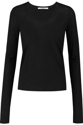 Garfield Stretch Supima Cotton Top Black - neckline: round neck; pattern: plain; predominant colour: black; occasions: casual; length: standard; style: top; fibres: cotton - 100%; fit: body skimming; sleeve length: long sleeve; sleeve style: standard; pattern type: fabric; texture group: jersey - stretchy/drapey; season: s/s 2016; wardrobe: basic