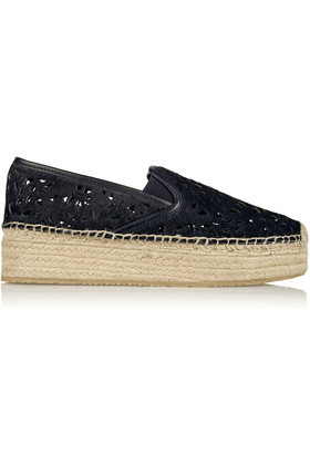 Clarisse Laser Cut Calf Hair Platform Espadrilles Midnight Blue - predominant colour: black; occasions: casual, holiday; material: leather; heel height: flat; toe: round toe; finish: plain; pattern: plain; style: espadrilles; shoe detail: platform; season: s/s 2016; wardrobe: highlight