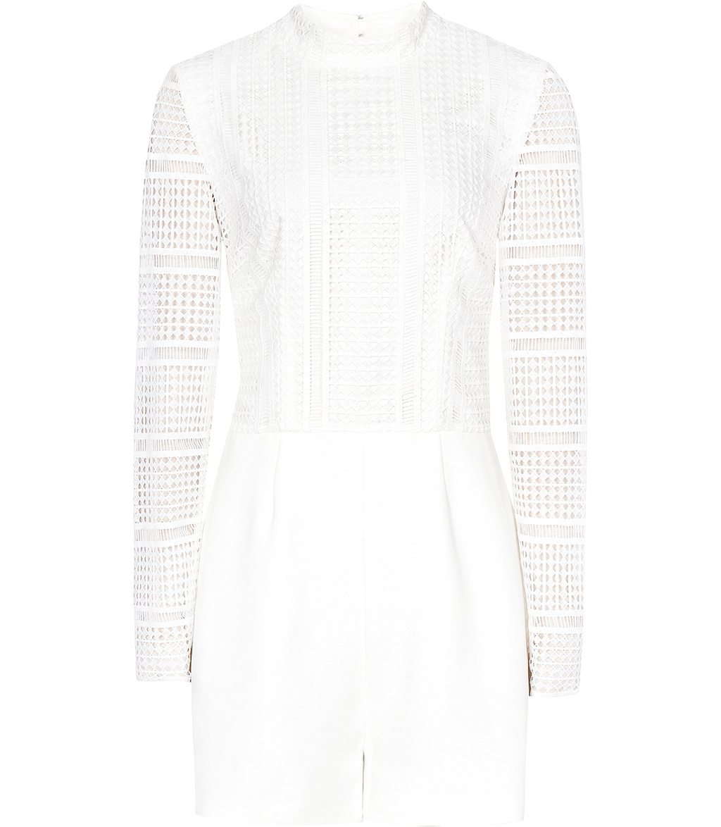 Tabitha Womens Lace Mix Playsuit In White - fit: tailored/fitted; pattern: plain; neckline: high neck; length: mid thigh shorts; predominant colour: white; occasions: casual, evening; fibres: polyester/polyamide - 100%; sleeve length: long sleeve; sleeve style: standard; style: playsuit; pattern type: fabric; texture group: other - light to midweight; embellishment: lace; season: s/s 2016; wardrobe: highlight