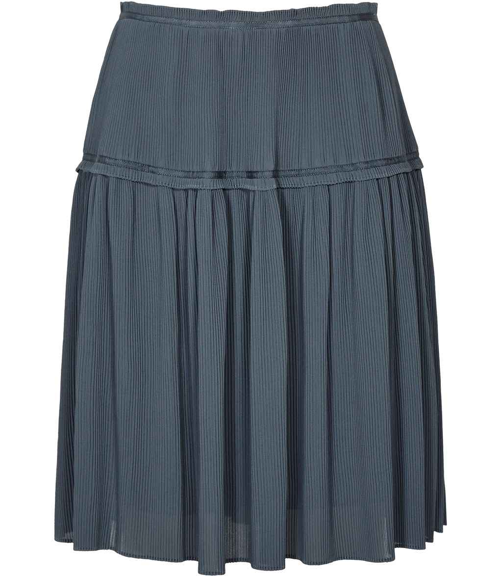 Dali Womens Plisse Skirt In Grey - length: mid thigh; pattern: plain; fit: body skimming; waist: mid/regular rise; predominant colour: charcoal; occasions: casual; style: mini skirt; fibres: polyester/polyamide - 100%; texture group: sheer fabrics/chiffon/organza etc.; pattern type: fabric; season: s/s 2016; wardrobe: basic