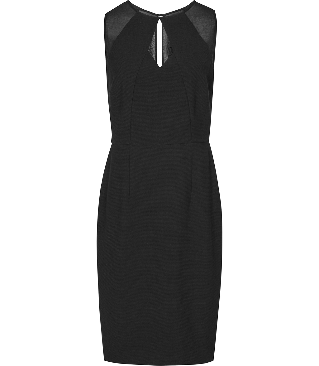 Calie Womens Neckline Detail Dress In Black - fit: tight; pattern: plain; sleeve style: sleeveless; style: bodycon; predominant colour: black; occasions: evening; length: just above the knee; neckline: peep hole neckline; fibres: polyester/polyamide - 100%; sleeve length: sleeveless; texture group: jersey - clingy; pattern type: fabric; season: s/s 2016; wardrobe: event