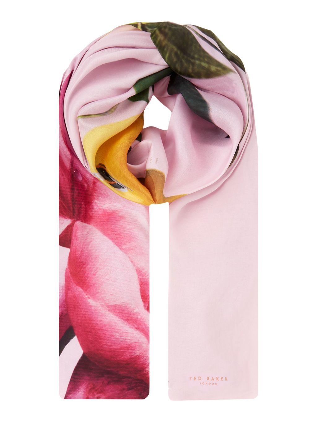 Calan Citrus Bloom Split Scarf, Pink - predominant colour: pink; occasions: casual; type of pattern: heavy; style: regular; size: standard; material: fabric; pattern: florals; multicoloured: multicoloured; season: s/s 2016