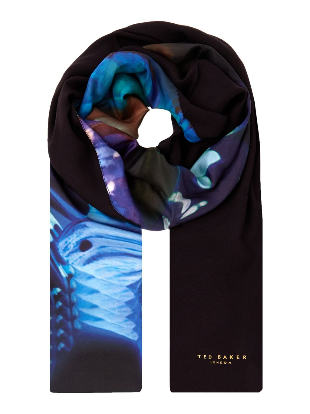 Milae Butterfly Collective Split Scarf, Black - predominant colour: black; occasions: casual; type of pattern: heavy; style: regular; size: standard; material: fabric; pattern: patterned/print; multicoloured: multicoloured; season: s/s 2016; wardrobe: highlight