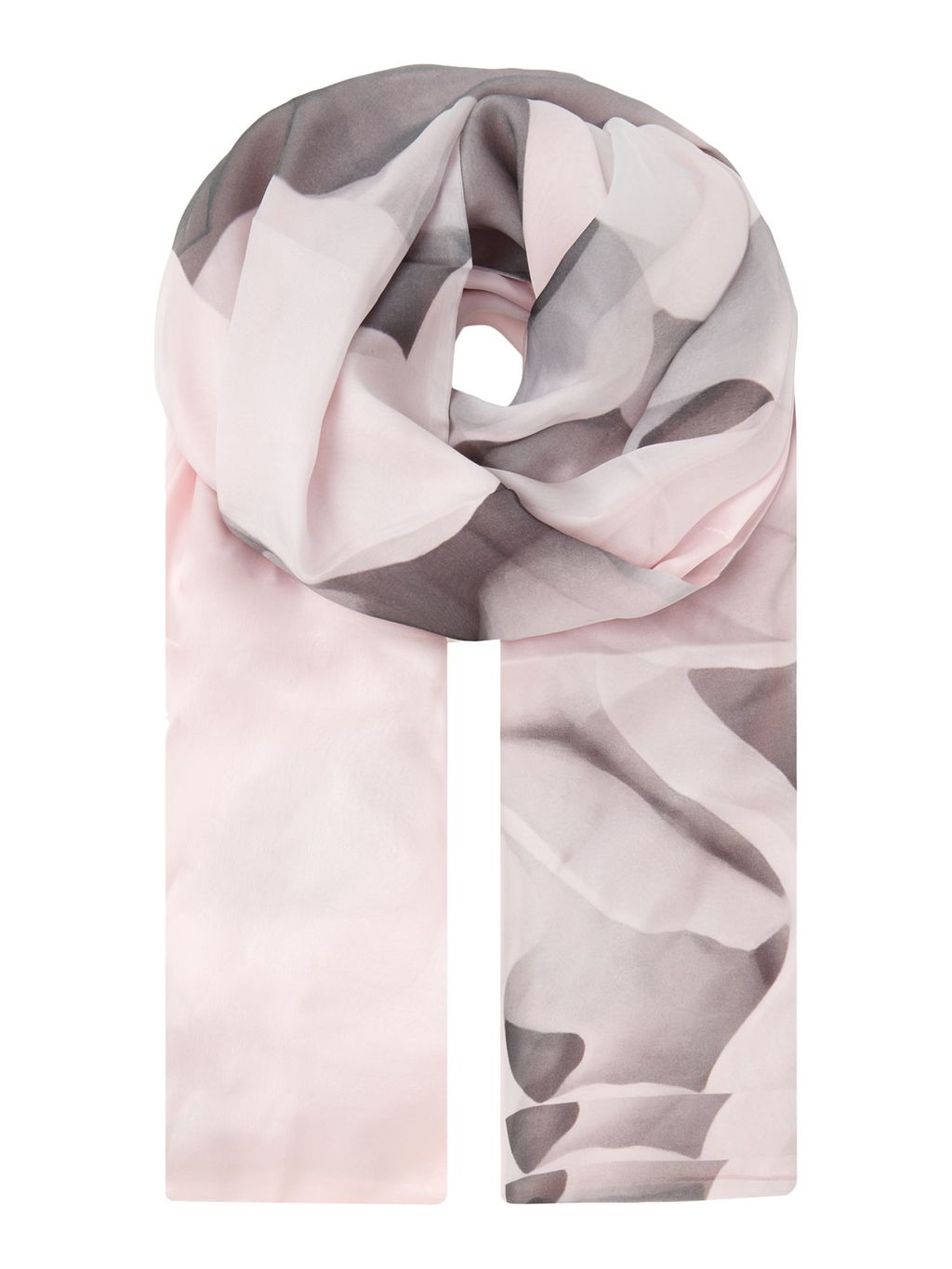 Maita Porcelain Rose Long Silk Scarf, Pink - predominant colour: blush; occasions: casual; type of pattern: heavy; style: regular; size: standard; material: silk; pattern: florals; season: s/s 2016; wardrobe: highlight