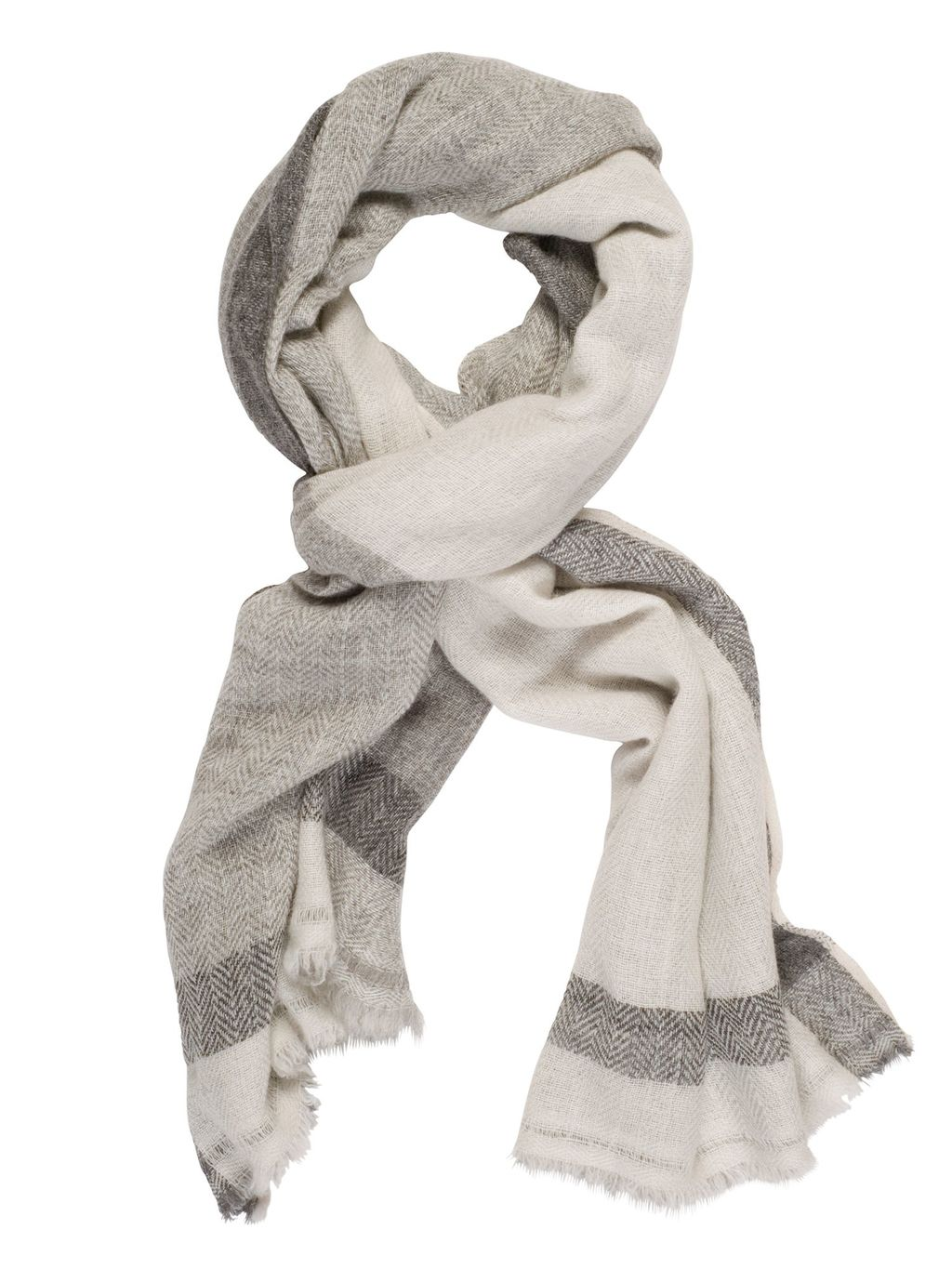 Striped Cashmere Scarf, Ivory - predominant colour: light grey; occasions: casual; type of pattern: standard; style: regular; size: standard; material: fabric; pattern: patterned/print; season: s/s 2016; wardrobe: highlight