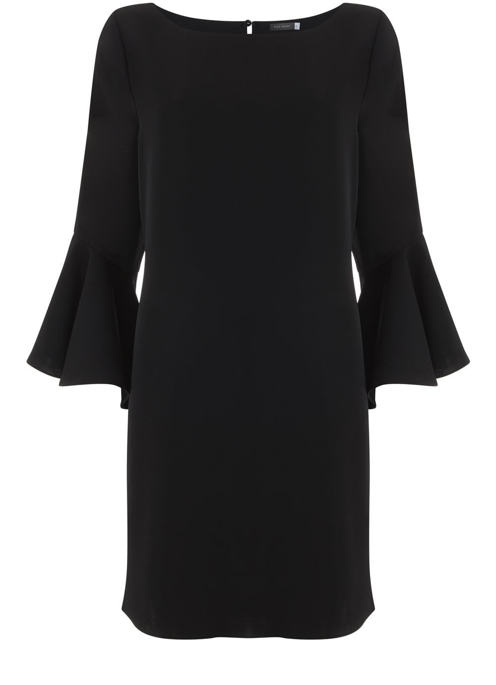 Black Fluted Sleeve Dress, Black - style: shift; neckline: round neck; sleeve style: bell sleeve; fit: tailored/fitted; pattern: plain; predominant colour: navy; occasions: evening; length: just above the knee; fibres: polyester/polyamide - 100%; sleeve length: long sleeve; pattern type: fabric; texture group: woven light midweight; season: s/s 2016