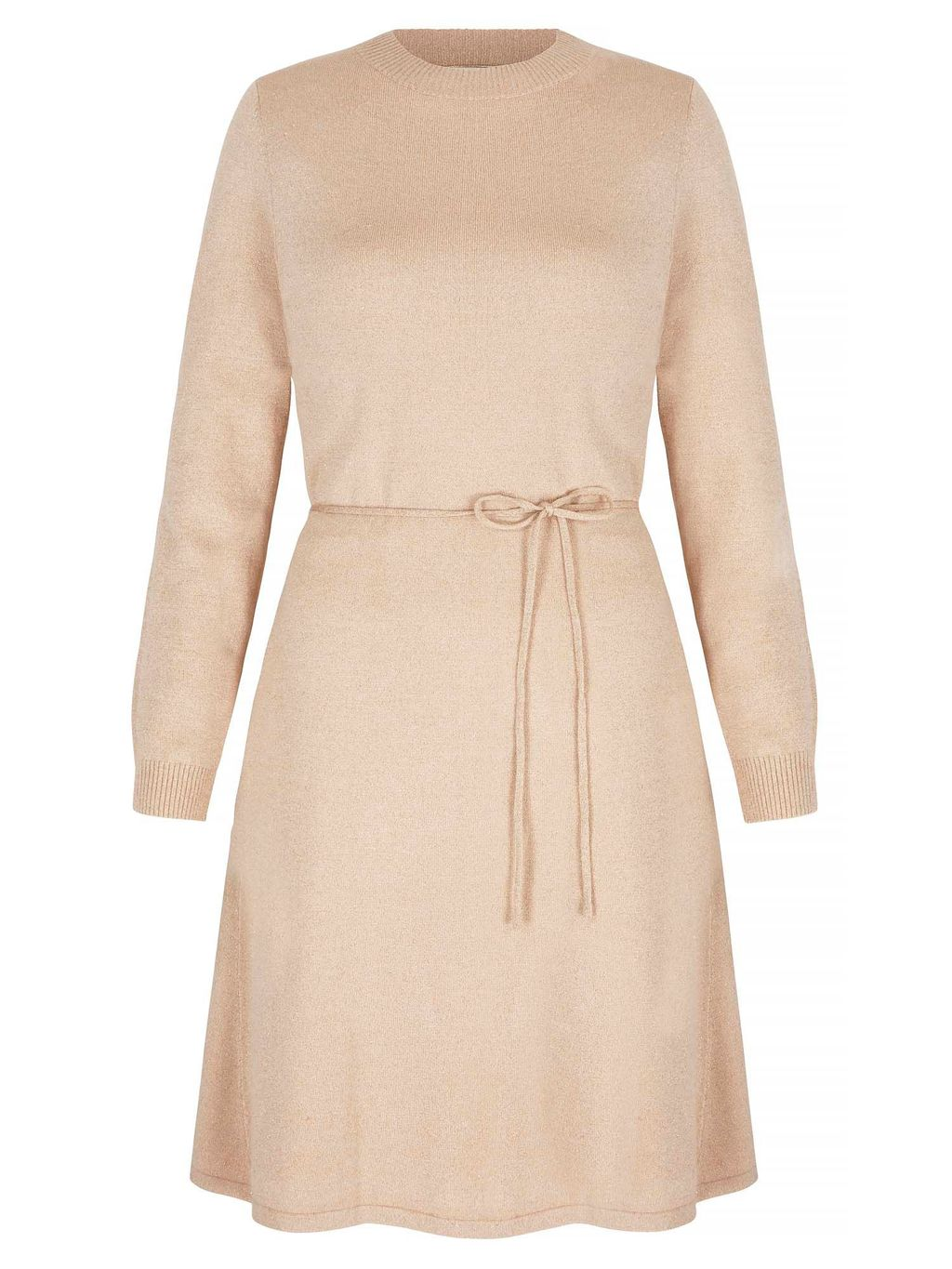 Lurex Knit Skater Dress, Gold Metallic - pattern: plain; waist detail: belted waist/tie at waist/drawstring; predominant colour: nude; occasions: casual; length: just above the knee; fit: fitted at waist & bust; style: fit & flare; neckline: crew; sleeve length: long sleeve; sleeve style: standard; texture group: knits/crochet; pattern type: fabric; fibres: viscose/rayon - mix; season: s/s 2016; wardrobe: basic