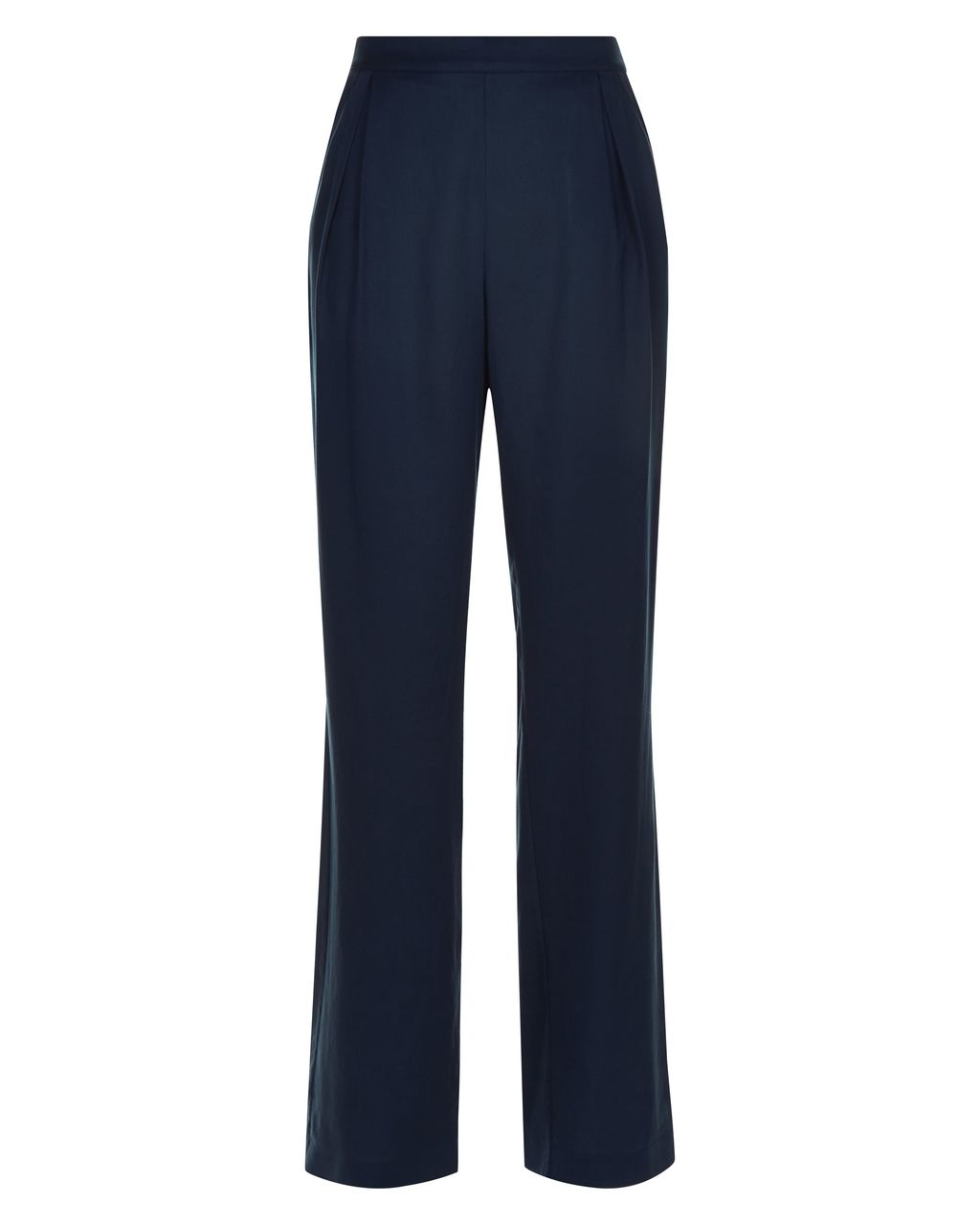 City Palazzo Trousers, Navy - length: standard; pattern: plain; waist: high rise; predominant colour: navy; fibres: polyester/polyamide - 100%; fit: straight leg; pattern type: fabric; texture group: other - light to midweight; style: standard; occasions: creative work; season: s/s 2016; wardrobe: basic