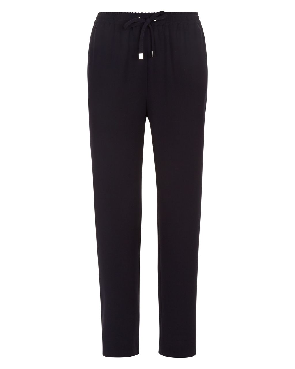 Crepe Drawstring Trousers, Navy - length: standard; pattern: plain; style: peg leg; waist detail: belted waist/tie at waist/drawstring; waist: mid/regular rise; predominant colour: navy; fibres: polyester/polyamide - 100%; texture group: crepes; fit: tapered; pattern type: fabric; occasions: creative work; season: s/s 2016; wardrobe: basic