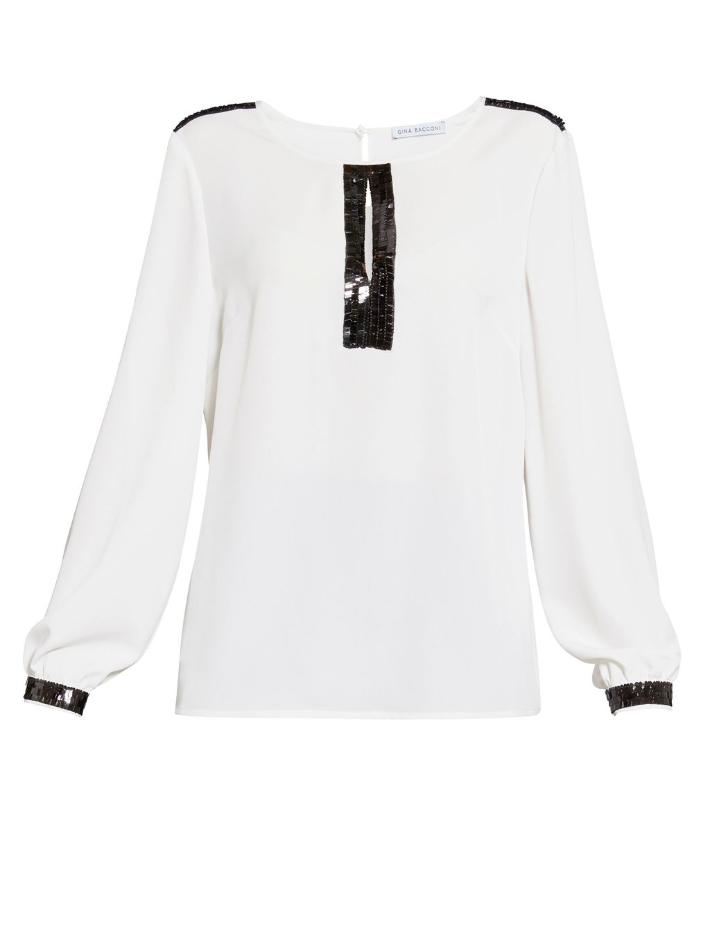 Soho Crepe Blouse With Sequin Trim, Cream - pattern: plain; style: blouse; predominant colour: ivory/cream; secondary colour: black; occasions: evening; length: standard; fibres: polyester/polyamide - 100%; fit: straight cut; neckline: crew; sleeve length: long sleeve; sleeve style: standard; texture group: crepes; pattern type: fabric; embellishment: sequins; multicoloured: multicoloured; season: s/s 2016; wardrobe: event