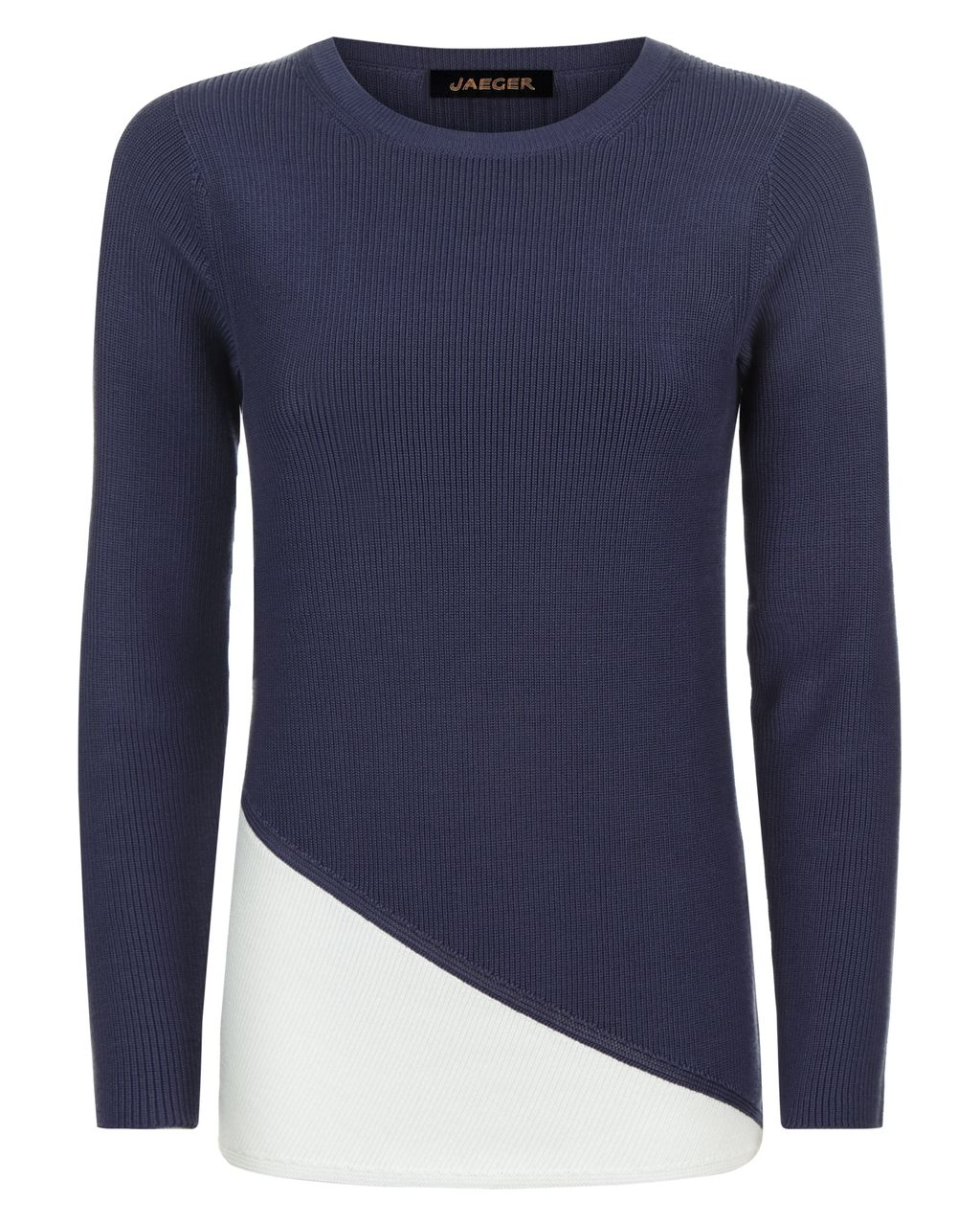 Colour Block Ribbed Sweater, White - style: standard; secondary colour: white; predominant colour: navy; occasions: casual; length: standard; fibres: cotton - 100%; fit: slim fit; neckline: crew; sleeve length: long sleeve; sleeve style: standard; texture group: knits/crochet; pattern type: knitted - fine stitch; pattern size: standard; pattern: colourblock; multicoloured: multicoloured; season: s/s 2016