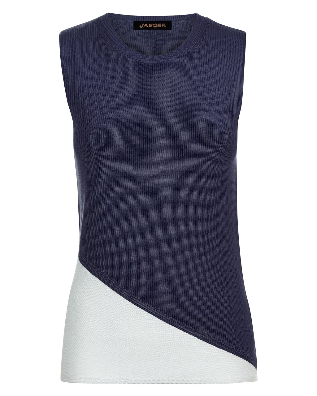 Cotton Colour Block Ribbed Top, White - neckline: round neck; sleeve style: sleeveless; style: vest top; secondary colour: white; predominant colour: navy; occasions: casual; length: standard; fibres: cotton - 100%; fit: body skimming; sleeve length: sleeveless; pattern type: fabric; pattern: colourblock; texture group: jersey - stretchy/drapey; multicoloured: multicoloured; season: s/s 2016; wardrobe: highlight