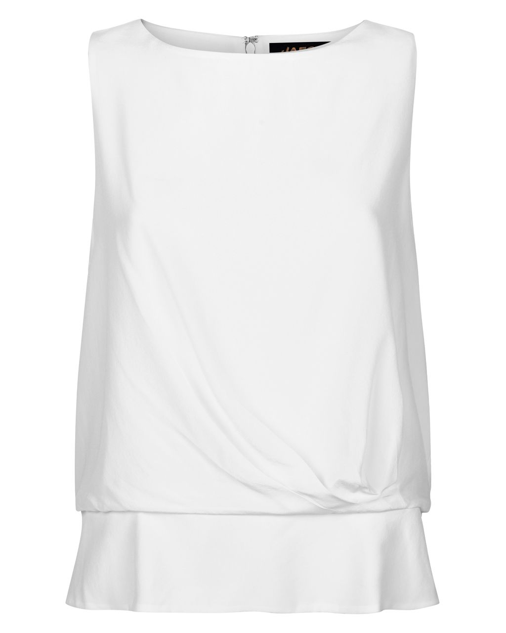 Silk Draped Peplum Top, White - neckline: round neck; pattern: plain; sleeve style: sleeveless; waist detail: peplum waist detail; predominant colour: white; occasions: casual; length: standard; style: top; fibres: silk - 100%; fit: body skimming; sleeve length: sleeveless; texture group: silky - light; pattern type: fabric; season: s/s 2016; wardrobe: basic