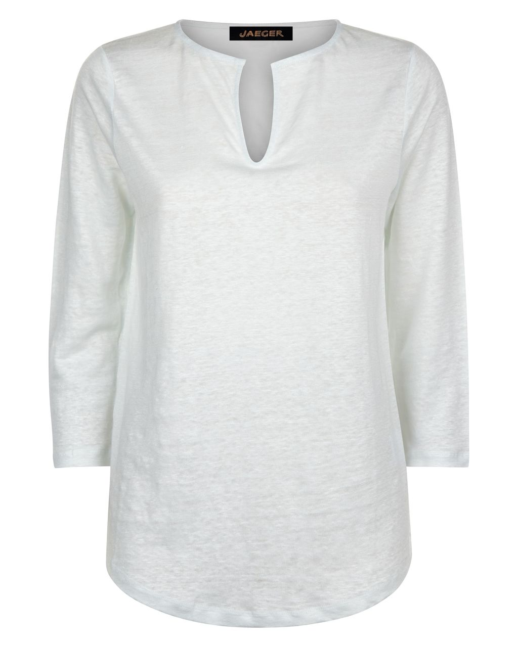 Linen Jersey T Shirt, Blue - pattern: plain; style: t-shirt; predominant colour: white; occasions: casual, creative work; length: standard; neckline: collarstand & mandarin with v-neck; fibres: linen - 100%; fit: body skimming; sleeve length: 3/4 length; sleeve style: standard; pattern type: fabric; texture group: jersey - stretchy/drapey; season: s/s 2016; wardrobe: basic