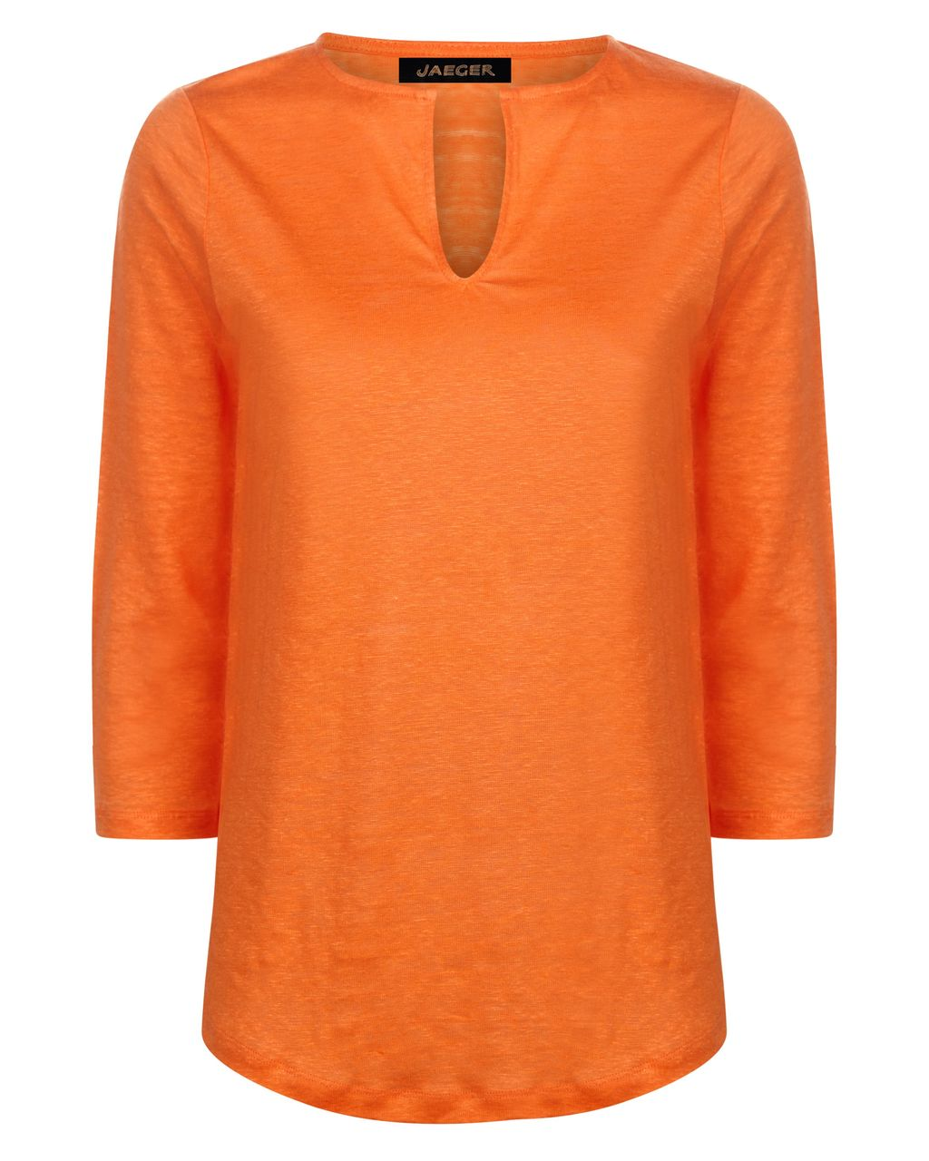 Linen Jersey T Shirt, Orange - pattern: plain; style: t-shirt; predominant colour: bright orange; occasions: casual, creative work; length: standard; neckline: collarstand & mandarin with v-neck; fibres: linen - 100%; fit: straight cut; sleeve length: 3/4 length; sleeve style: standard; pattern type: fabric; texture group: jersey - stretchy/drapey; season: s/s 2016; wardrobe: highlight