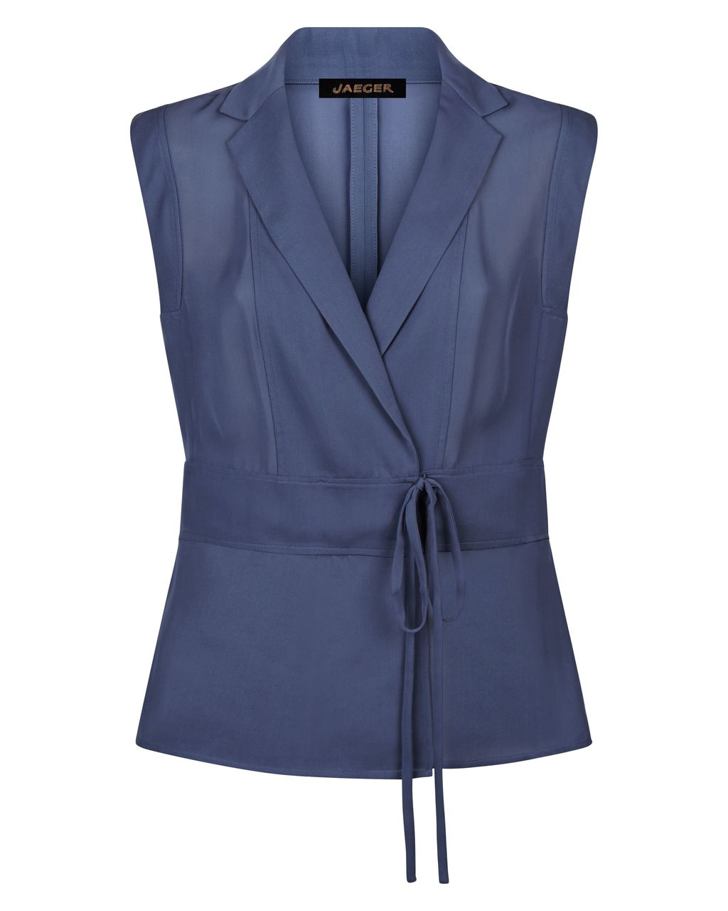 Lapel Wrap Blouse, Navy - neckline: v-neck; pattern: plain; sleeve style: sleeveless; style: wrap/faux wrap; waist detail: belted waist/tie at waist/drawstring; predominant colour: navy; occasions: casual; length: standard; fibres: polyester/polyamide - 100%; fit: body skimming; sleeve length: sleeveless; pattern type: fabric; texture group: other - light to midweight; season: s/s 2016; wardrobe: basic