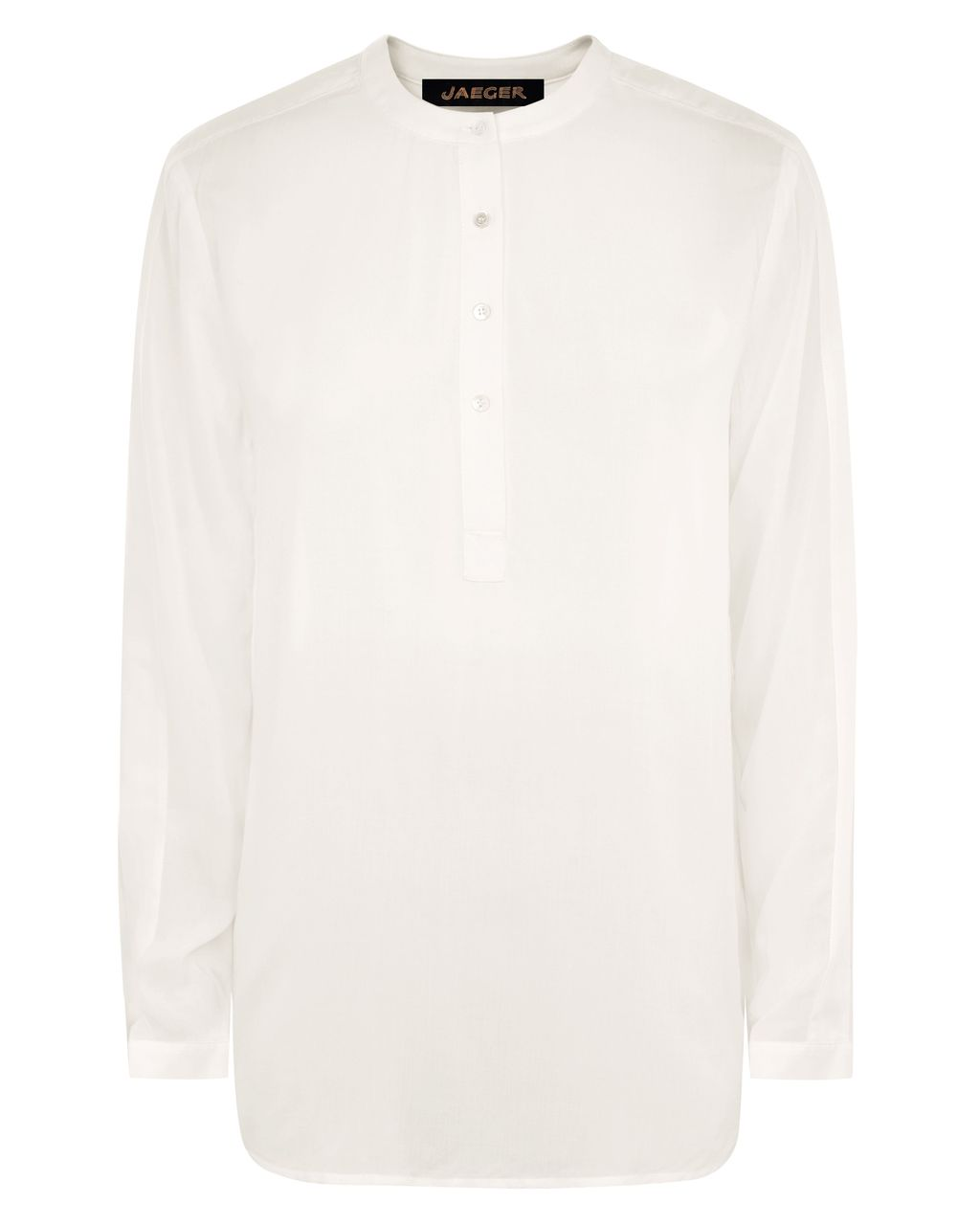 Casual Shirt, White - pattern: plain; length: below the bottom; style: shirt; predominant colour: white; occasions: casual, creative work; neckline: collarstand; fibres: viscose/rayon - 100%; fit: body skimming; sleeve length: long sleeve; sleeve style: standard; pattern type: fabric; texture group: other - light to midweight; season: s/s 2016; wardrobe: basic