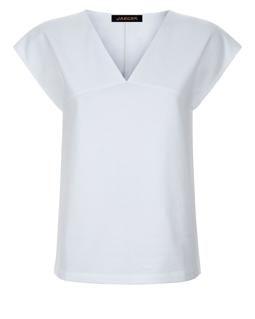 Jersey Textured Block T Shirt, White - neckline: v-neck; sleeve style: capped; pattern: plain; style: t-shirt; predominant colour: white; occasions: casual; length: standard; fibres: cotton - 100%; fit: straight cut; sleeve length: short sleeve; pattern type: fabric; texture group: jersey - stretchy/drapey; season: s/s 2016; wardrobe: basic