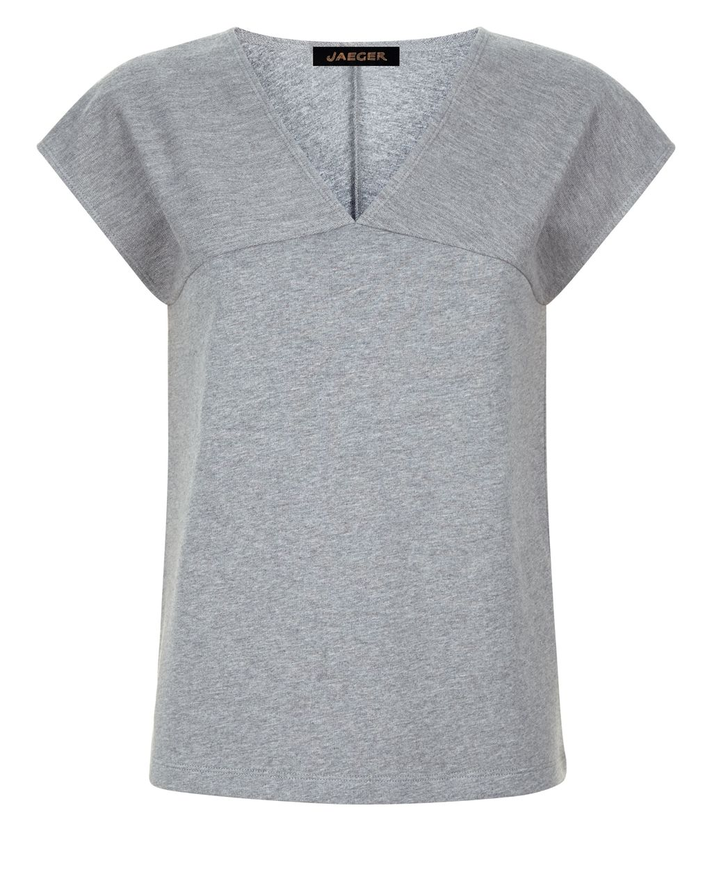 Jersey Textured Block T Shirt, Grey - neckline: v-neck; sleeve style: capped; style: t-shirt; predominant colour: mid grey; occasions: casual; length: standard; fibres: cotton - 100%; fit: straight cut; sleeve length: short sleeve; pattern type: fabric; pattern size: light/subtle; texture group: jersey - stretchy/drapey; pattern: marl; season: s/s 2016