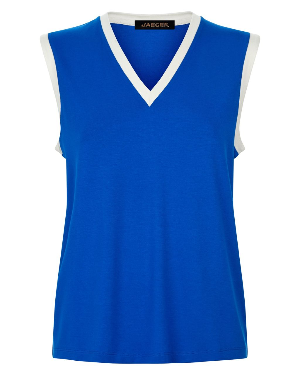 Jersey Vest Top, Blue - neckline: v-neck; sleeve style: sleeveless; style: vest top; secondary colour: white; predominant colour: royal blue; occasions: casual; length: standard; fibres: viscose/rayon - stretch; fit: body skimming; sleeve length: sleeveless; pattern type: fabric; pattern size: standard; pattern: colourblock; texture group: jersey - stretchy/drapey; season: s/s 2016; wardrobe: highlight
