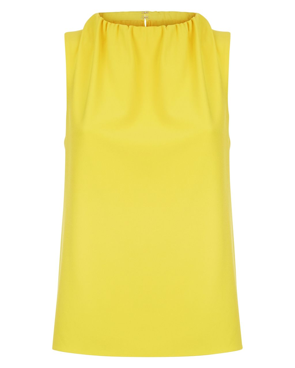Ruched Neck Sleeveless Top, Yellow - pattern: plain; sleeve style: sleeveless; predominant colour: yellow; occasions: casual, creative work; length: standard; style: top; fibres: cotton - 100%; fit: straight cut; neckline: crew; sleeve length: sleeveless; texture group: cotton feel fabrics; pattern type: fabric; season: s/s 2016; wardrobe: highlight