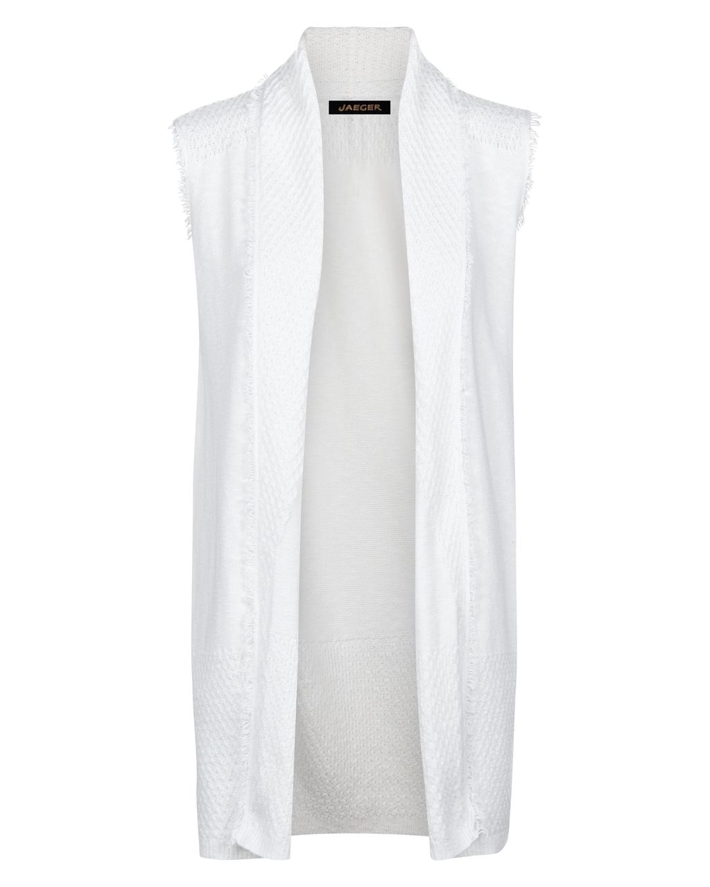 Cotton Linen Fringed Gilet, White - pattern: plain; sleeve style: sleeveless; collar: shawl/waterfall; length: below the bottom; predominant colour: white; occasions: casual, creative work; fit: straight cut (boxy); fibres: cotton - mix; style: waistcoat; sleeve length: sleeveless; texture group: cotton feel fabrics; collar break: low/open; pattern type: fabric; season: s/s 2016