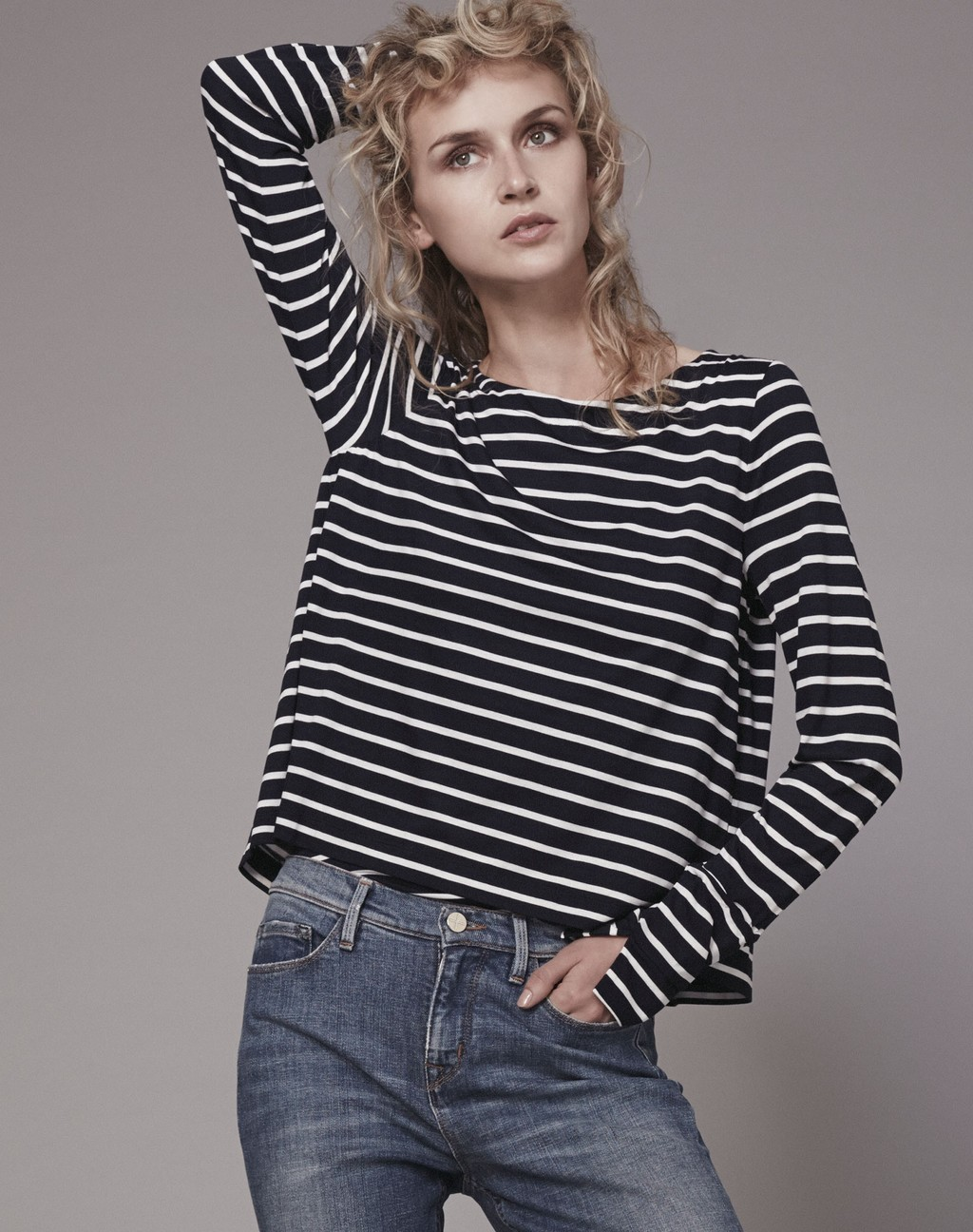 Double Layer Stripe Tee Navy/Soft White - neckline: round neck; pattern: horizontal stripes; style: t-shirt; secondary colour: white; predominant colour: navy; occasions: casual, creative work; length: standard; fibres: cotton - stretch; fit: straight cut; sleeve length: long sleeve; sleeve style: standard; trends: monochrome; pattern type: fabric; texture group: jersey - stretchy/drapey; pattern size: big & busy (top); season: s/s 2016