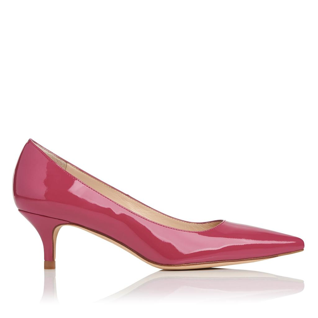 Minu Rosehip Patent Courts Pink Rosehip - predominant colour: burgundy; occasions: evening; material: leather; heel height: mid; heel: kitten; toe: pointed toe; style: courts; finish: patent; pattern: plain; season: s/s 2016; wardrobe: event