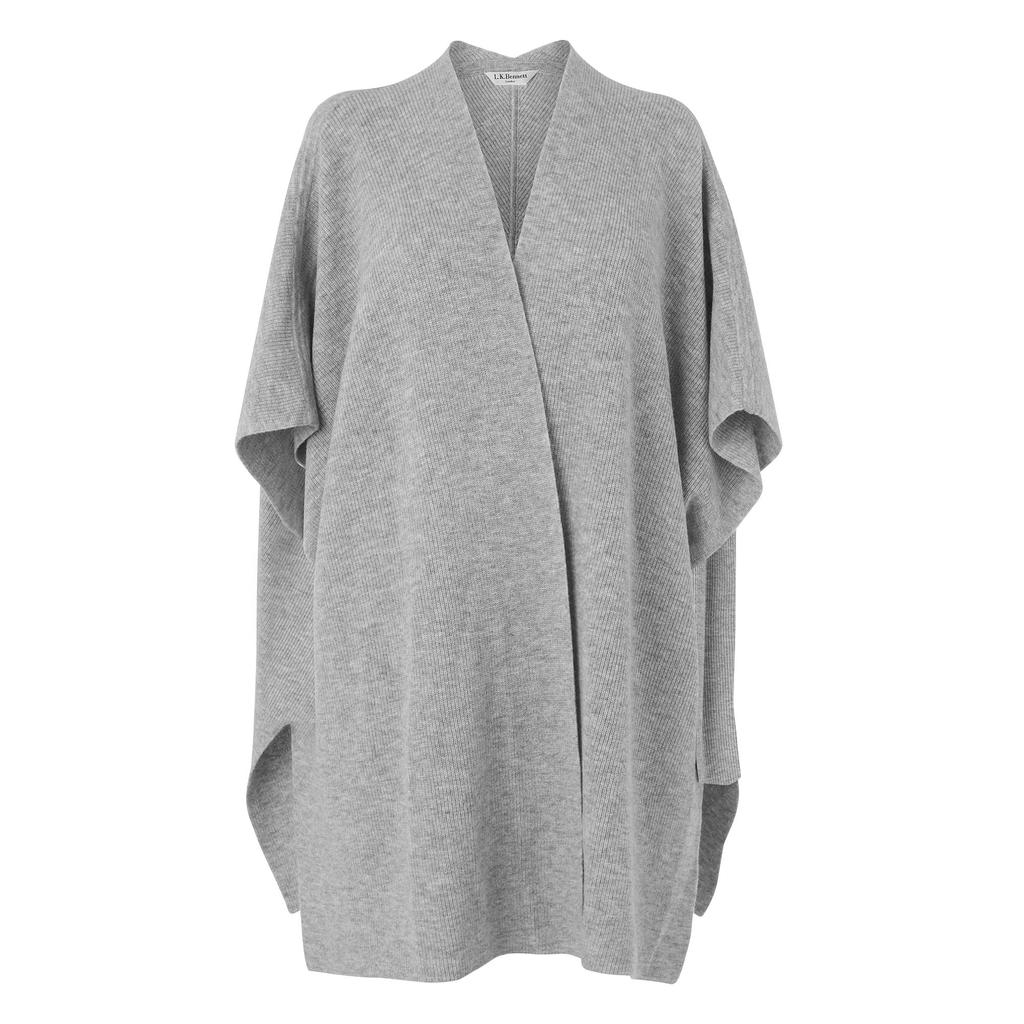 Dia Grey Cashmere Scarf Wrap Grey Grey Melange - sleeve style: dolman/batwing; pattern: plain; collar: round collar/collarless; fit: loose; predominant colour: mid grey; occasions: casual, creative work; length: mid thigh; fibres: cashmere - 100%; sleeve length: short sleeve; texture group: knits/crochet; collar break: medium; pattern type: fabric; style: fluid/kimono; season: s/s 2016; wardrobe: highlight