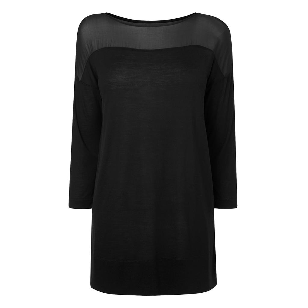 Olenna Black Silk Jersey Top - neckline: slash/boat neckline; pattern: plain; length: below the bottom; style: t-shirt; predominant colour: black; occasions: casual, creative work; fibres: silk - 100%; fit: body skimming; sleeve length: 3/4 length; sleeve style: standard; pattern type: fabric; texture group: jersey - stretchy/drapey; shoulder detail: sheer at shoulder; season: s/s 2016; wardrobe: highlight