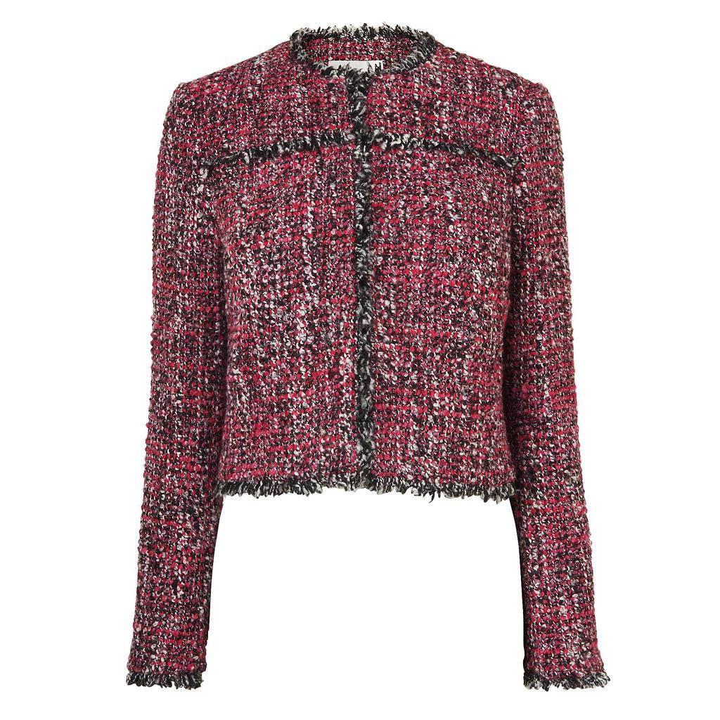 Edelle Pink Tweed Jacket - collar: round collar/collarless; style: boxy; pattern: herringbone/tweed; predominant colour: magenta; secondary colour: black; length: standard; fit: straight cut (boxy); fibres: wool - mix; occasions: occasion, creative work; sleeve length: long sleeve; sleeve style: standard; collar break: high; pattern type: fabric; pattern size: standard; texture group: tweed - light/midweight; season: s/s 2016; wardrobe: investment