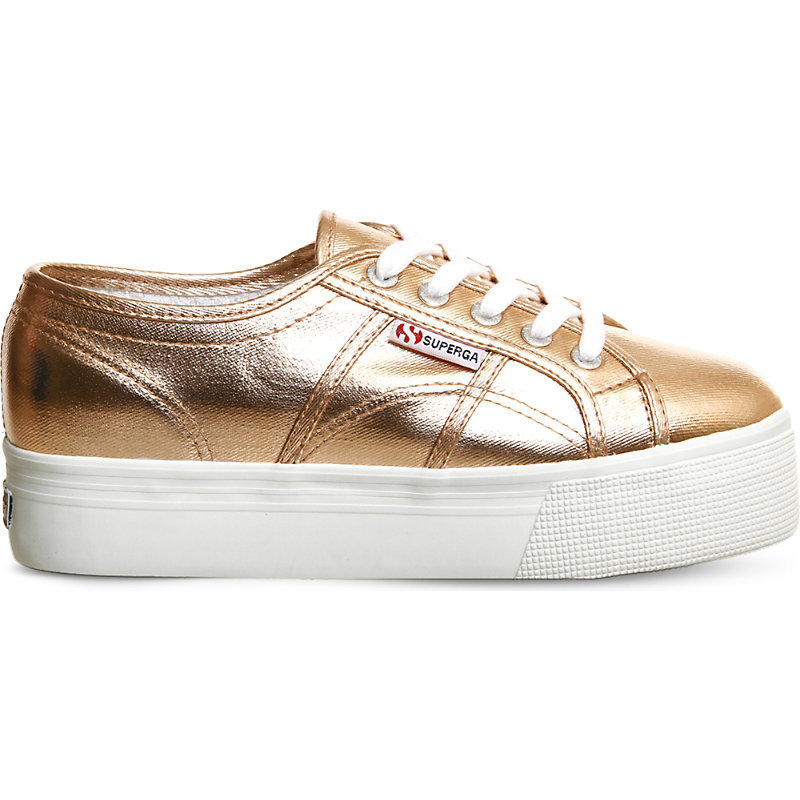 2790 Canvas Flatform Trainers, Women's, Rose Gold Cometu - predominant colour: gold; occasions: casual; material: faux leather; heel height: flat; toe: round toe; style: trainers; finish: metallic; pattern: plain; shoe detail: platform; season: s/s 2016; wardrobe: highlight