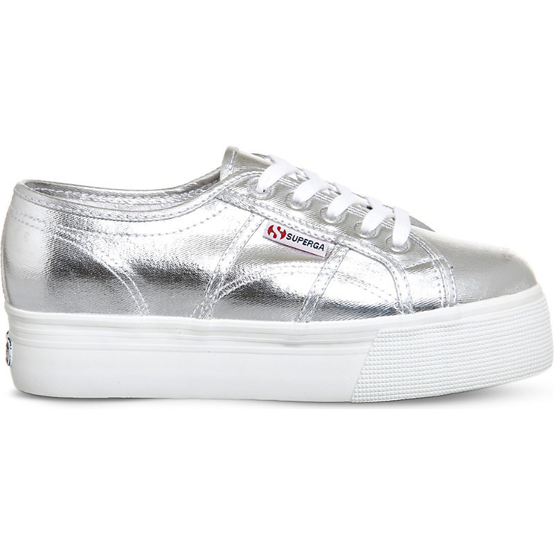 2790 Canvas Flatform Trainers, Women's, 5.5, Silver Cometu - secondary colour: white; predominant colour: silver; occasions: casual; material: faux leather; heel height: flat; toe: round toe; style: flatforms; finish: metallic; pattern: plain; shoe detail: platform; season: s/s 2016