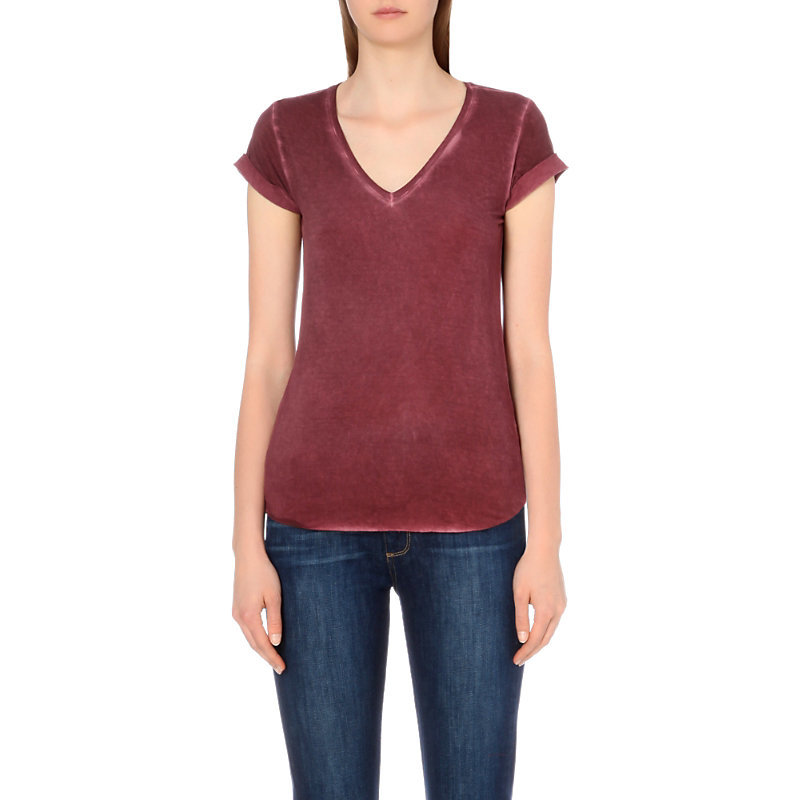 Charlie Jersey T Shirt, Women's, Size: Medium, Vintage Deep Syrah - neckline: v-neck; pattern: plain; style: t-shirt; predominant colour: burgundy; occasions: casual; length: standard; fibres: viscose/rayon - stretch; fit: body skimming; sleeve length: short sleeve; sleeve style: standard; pattern type: fabric; texture group: jersey - stretchy/drapey; season: s/s 2016