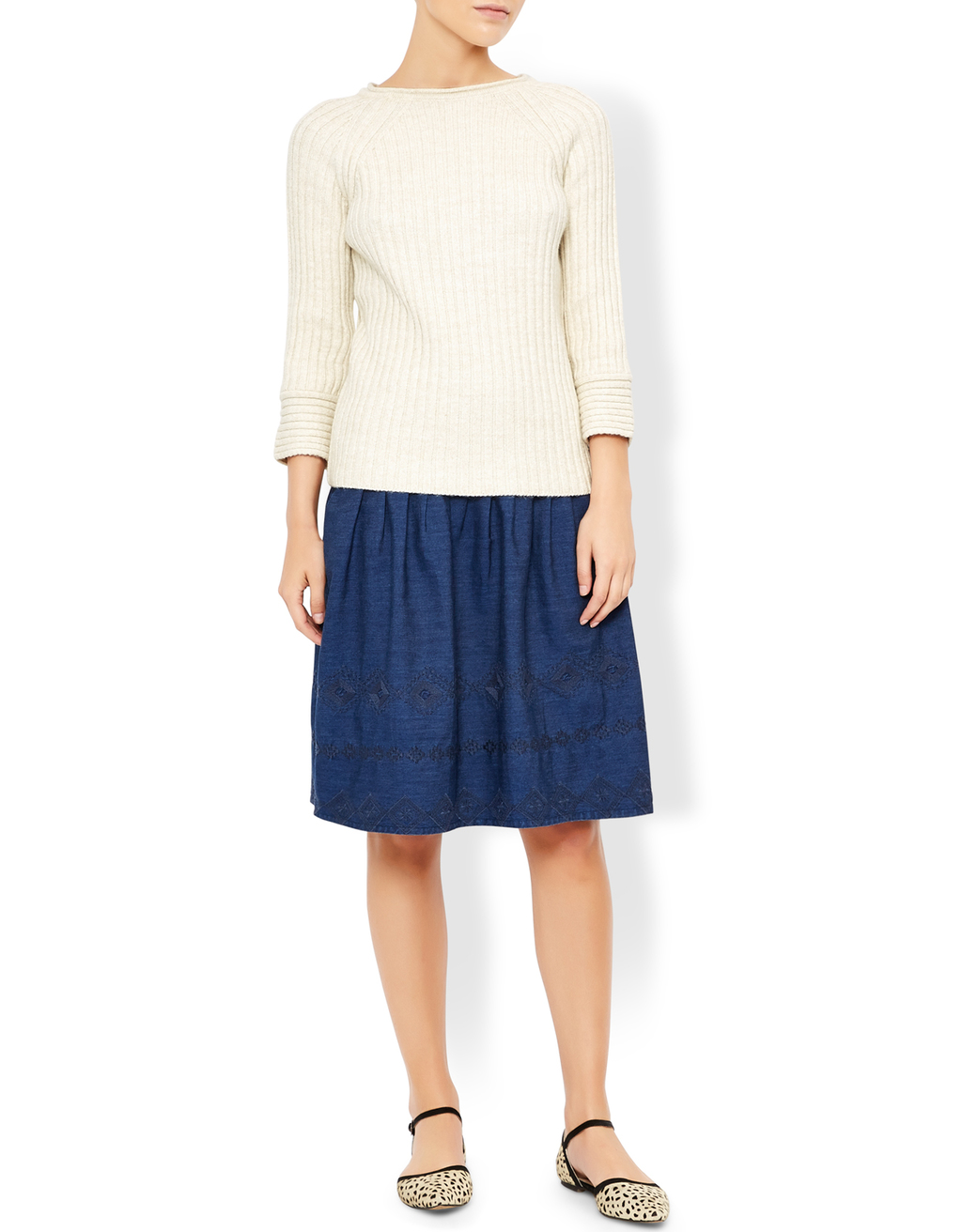 Kaleigh Slash Neck Jumper - pattern: plain; style: standard; predominant colour: ivory/cream; occasions: casual, creative work; length: standard; fit: standard fit; neckline: crew; sleeve length: 3/4 length; sleeve style: standard; texture group: knits/crochet; pattern type: fabric; fibres: viscose/rayon - mix; season: s/s 2016; wardrobe: basic