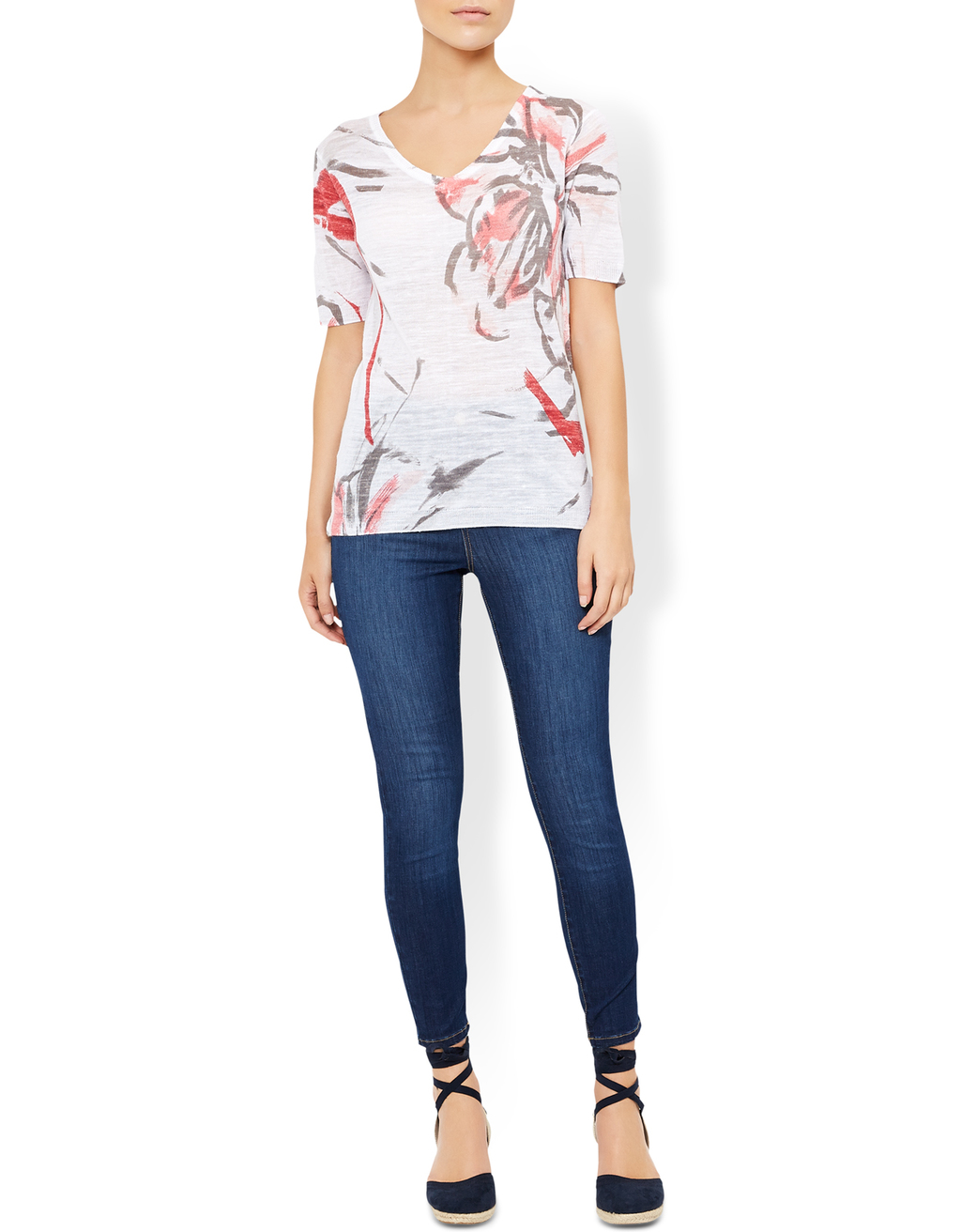 Rosely Floral Print Top - neckline: v-neck; predominant colour: white; secondary colour: true red; occasions: casual; length: standard; style: top; fibres: acrylic - mix; fit: body skimming; sleeve length: short sleeve; sleeve style: standard; pattern type: fabric; pattern: florals; texture group: other - light to midweight; pattern size: big & busy (top); multicoloured: multicoloured; season: s/s 2016; wardrobe: highlight