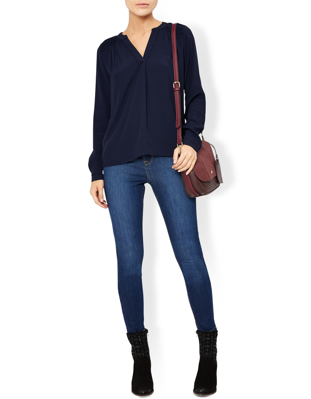 Alexis Blouse - neckline: v-neck; pattern: plain; style: blouse; predominant colour: navy; occasions: casual; length: standard; fibres: silk - 100%; fit: body skimming; sleeve length: long sleeve; sleeve style: standard; texture group: silky - light; pattern type: fabric; season: s/s 2016