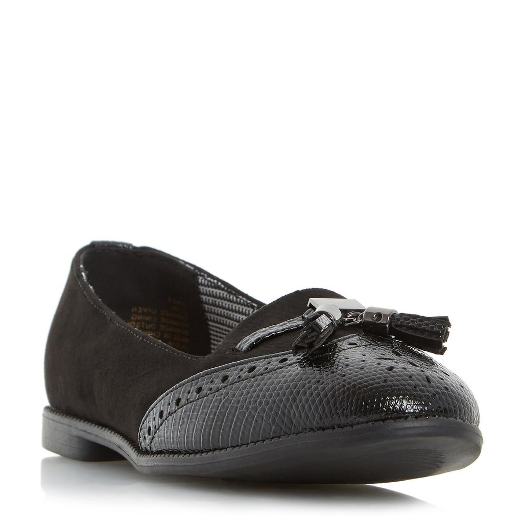 Lumier Tassel Brogue Detail Slipper Shoe - predominant colour: black; occasions: casual, creative work; material: faux leather; heel height: flat; embellishment: tassels; toe: round toe; style: ballerinas / pumps; finish: plain; pattern: plain; season: s/s 2016; wardrobe: basic