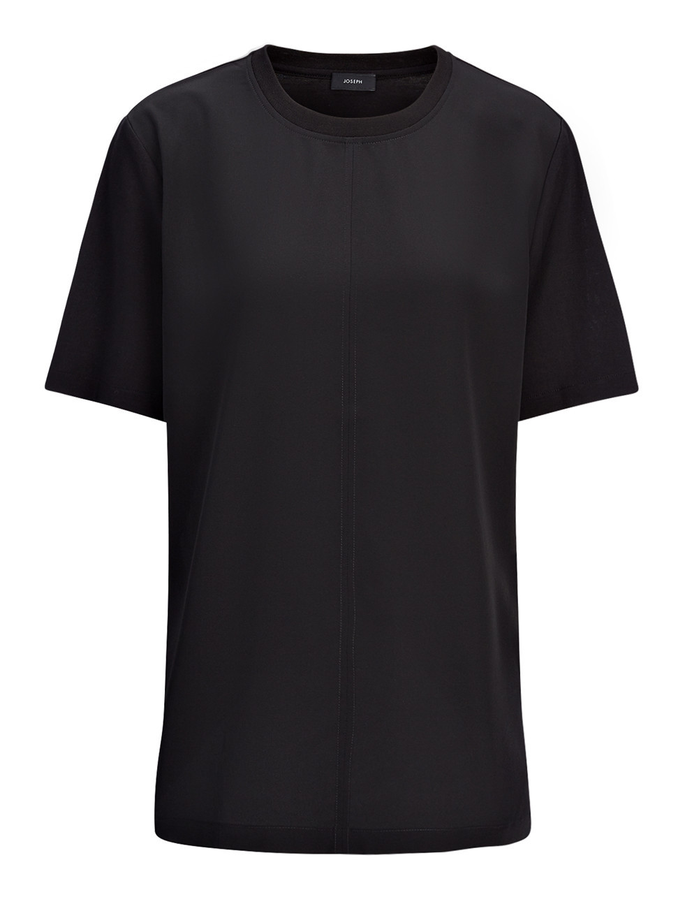 Jersey And Crepe De Chine Top In Black - pattern: plain; style: t-shirt; predominant colour: black; occasions: casual, creative work; length: standard; fibres: silk - mix; fit: straight cut; neckline: crew; sleeve length: short sleeve; sleeve style: standard; texture group: crepes; pattern type: fabric; season: s/s 2016; wardrobe: basic