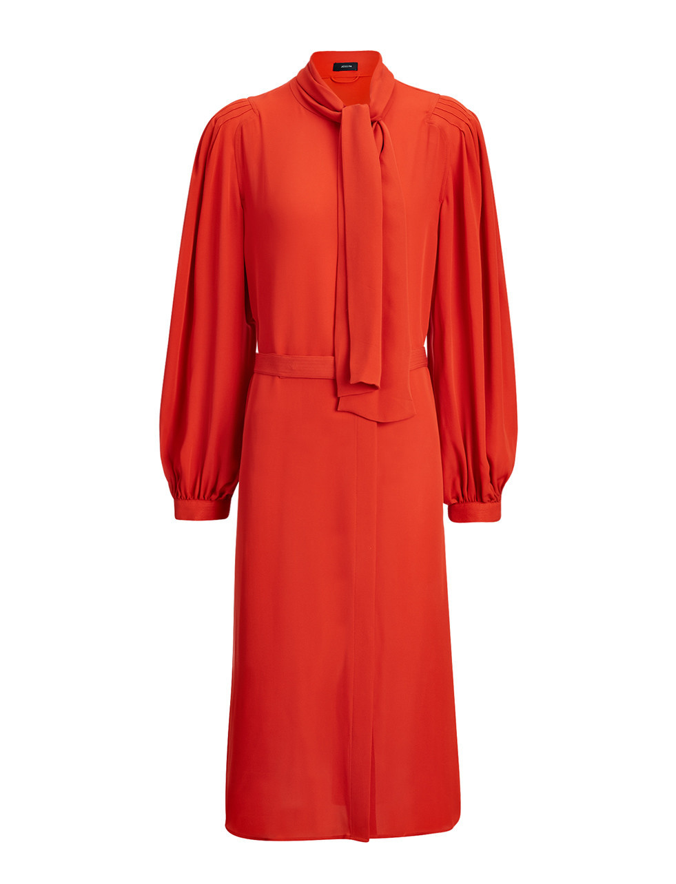 Double Georgette Billy Dress In Persimmon - style: shift; pattern: plain; neckline: pussy bow; predominant colour: bright orange; occasions: evening; length: on the knee; fit: body skimming; fibres: silk - 100%; sleeve length: long sleeve; sleeve style: standard; texture group: crepes; pattern type: fabric; season: s/s 2016
