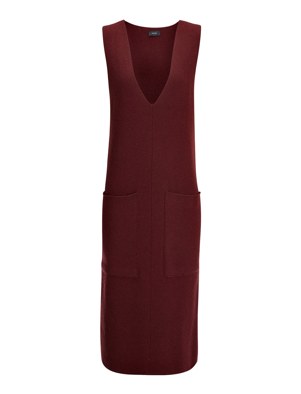 Soft Wool Milano Illinois Dress In Dark Oxblood - neckline: plunge; pattern: plain; sleeve style: sleeveless; hip detail: front pockets at hip; style: vest; predominant colour: burgundy; occasions: casual, creative work; length: on the knee; fit: body skimming; fibres: wool - 100%; sleeve length: sleeveless; texture group: knits/crochet; pattern type: knitted - fine stitch; season: s/s 2016