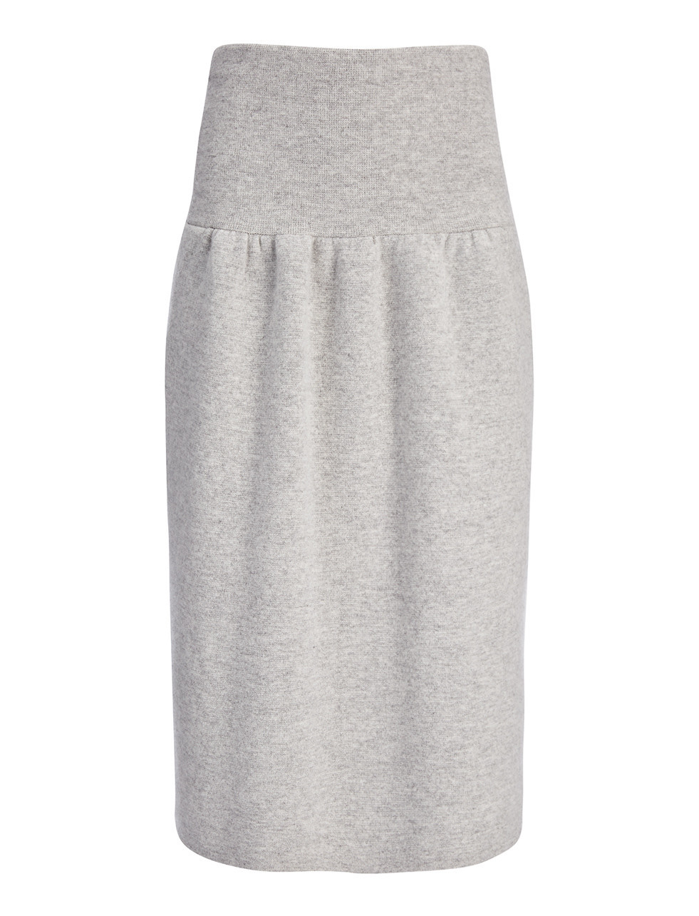 Compact Boiled Knit Skirt In Marble - length: below the knee; pattern: plain; style: straight; fit: loose/voluminous; waist: high rise; predominant colour: light grey; occasions: casual, creative work; fibres: wool - 100%; texture group: knits/crochet; pattern type: fabric; season: s/s 2016; wardrobe: basic