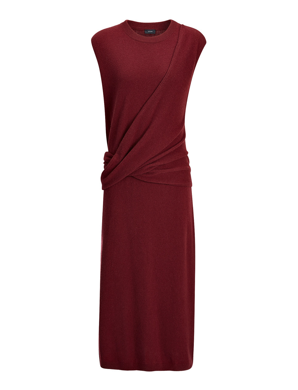 Soft Wool Feli Dress In Oxblood - style: shift; length: calf length; pattern: plain; sleeve style: sleeveless; neckline: high neck; predominant colour: burgundy; occasions: evening; fit: body skimming; fibres: wool - 100%; sleeve length: sleeveless; texture group: jersey - clingy; pattern type: fabric; season: s/s 2016